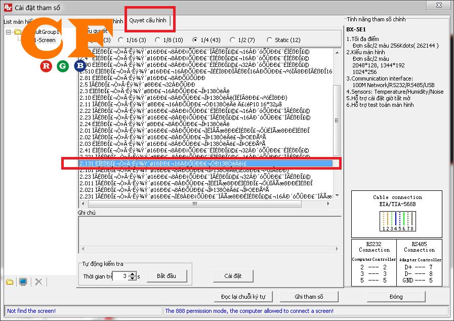 Cách cấu hình cho tấm p10 3 màu SMT dùng Ledshow mạch BX