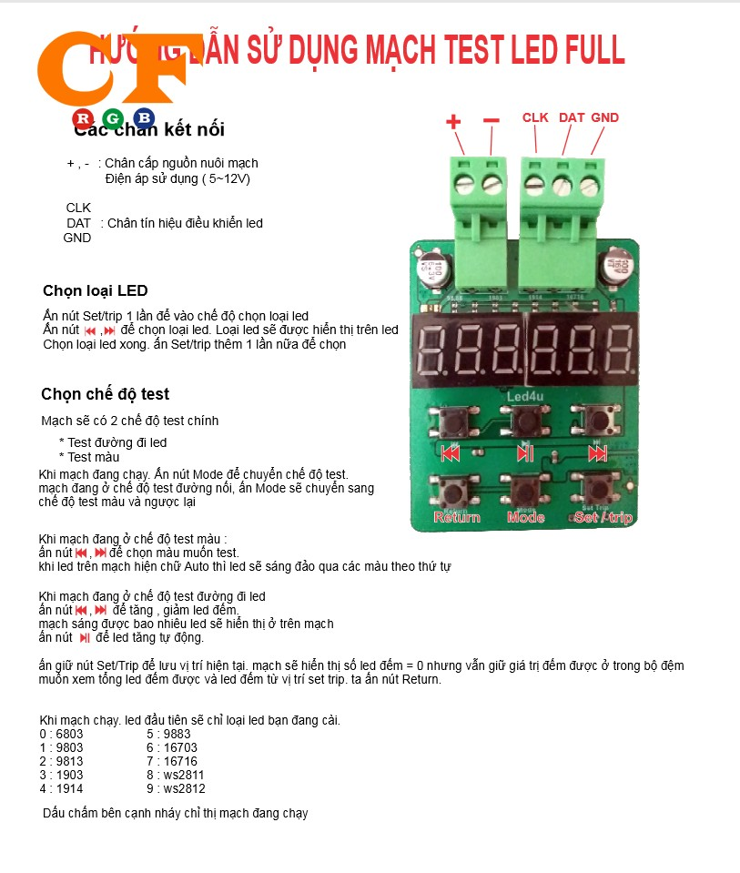 Hướng dẫn mạch TEST LED FULL COLOR - Sơ đồ đi dây + Số bóng led