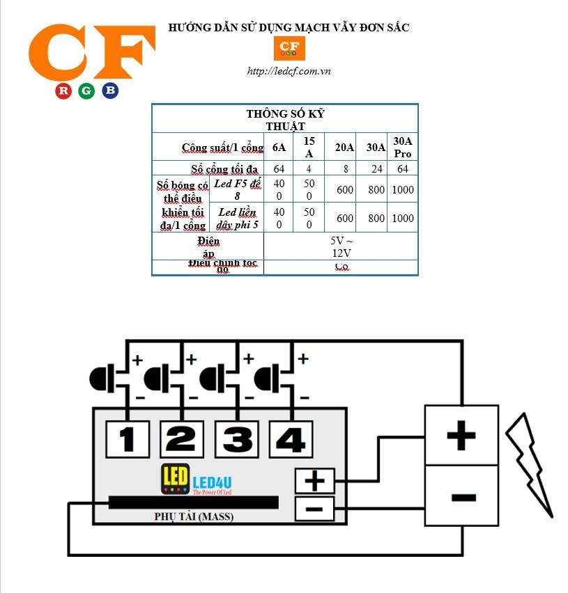 Hướng dẫn sử dụng mạch LED vẫy đơn sắc + Sơ đồ đấu nối - LEDCF Việt Nam