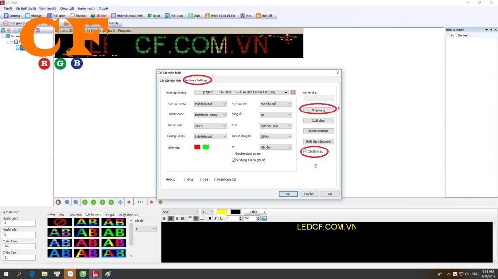 File cấu hình cho P10 full color cho phần mềm Led HD 2018